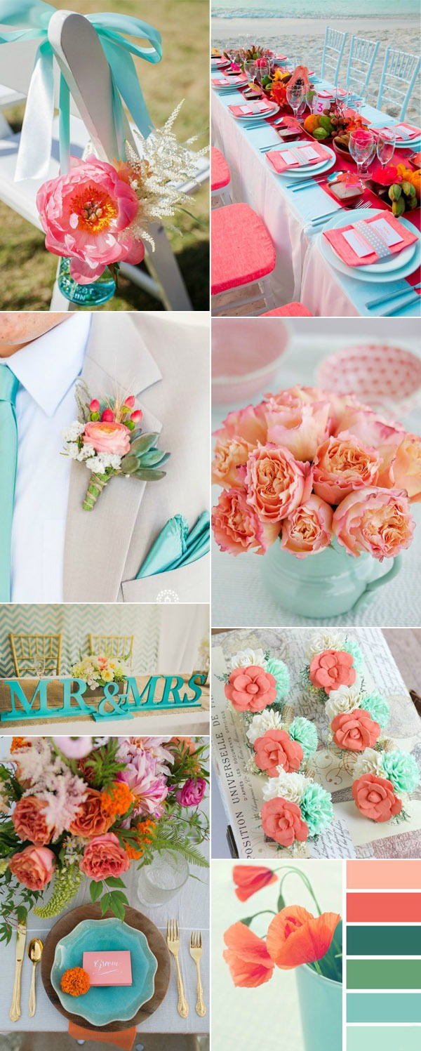 Perfect-Turquoise-and-Coral-Wedding-Color-Combination-Ideas