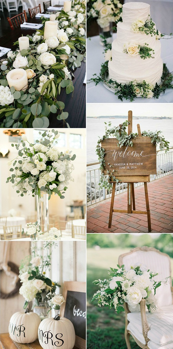 chic-elegant-and-rustic-white-and-green-wedding-color-ideas-2017-trends