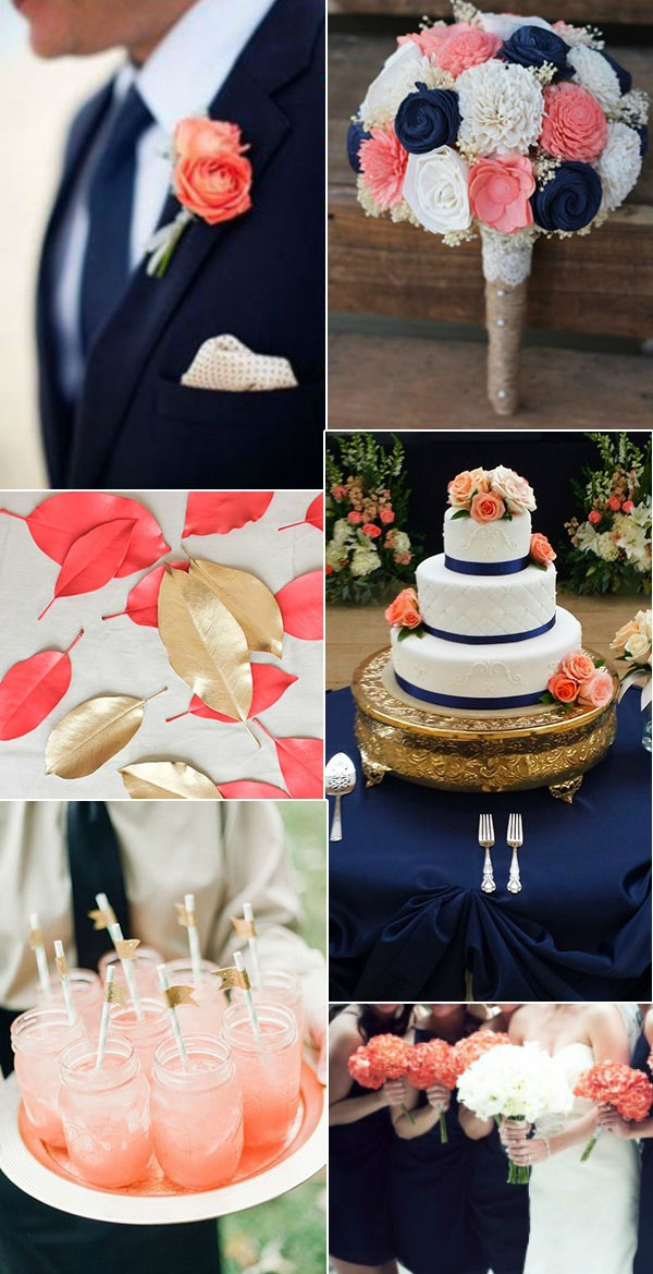 navy-blue-coral-and-gold-wedding-color-ideas-for-2017-trends